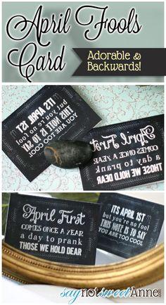 "Easy and Cute Printable ""Trick"" April Fool's Day Cards | Saynotsweetanne.com | #diy #aprilfools #printable"