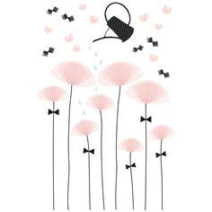 Le sticker coquelicots by Manuela Magni pour Lilipinso aux tonalités douces apporte un décor plein de tendresses dans une chambre d'enfant.
