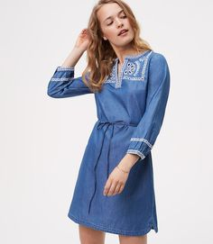 Primary Image of Petite Chambray Embroidered Shirtdress
