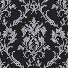 Carbon Black Silver Glitter M0731 Rafaele Damask Vymura Wallpaper   eBay