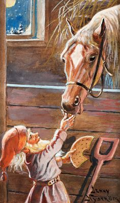 "JENNY NYSTRÖM, ""Tomte matar häst i stall"" (Brownie feeding a horse in a stable). Signed Jenny Nyström. Painted in ca 1945. Watercolour, hei.... - Autumn Classic Sale, Stockholm 559 – Bukowskis"