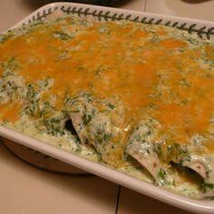 Spinach Enchiladas with Cilantro Cream Sauce. My favorite!!!