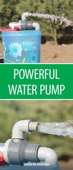 Powerful Water Pump Diy Water Pump, Solar Water Pump, Water Pump Motor, Pvc Pipe Projects, Outdoor Projects, Projects To Try, Water Powers, Diy Cutting Board, Rain Barrel