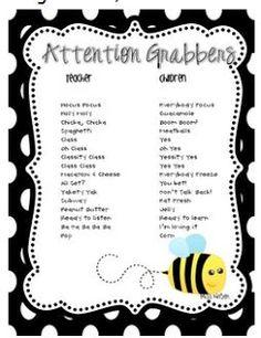 More Time 2 Teach: Whole Brain Teaching - Attention Grabbers Classroom Fun, Classroom Organization, Classroom Cheers, Future Classroom, Classroom Secrets, Classroom Labels, Teacher Tools, Teacher Resources, Teacher Stuff