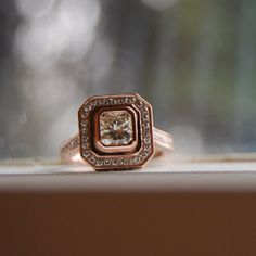 Asscher cut Champagne diamond ring rose gold via Etsy Peach Sapphire, Sapphire Diamond, Champagne Diamond Rings, Gold Champagne, Vintage Champagne, Radiant Engagement Rings, Asscher Cut Diamond, Thing 1, Diamond Ring Settings