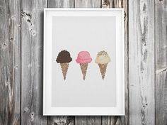ice cream modern cross stitch pattern  vintage retro by futska