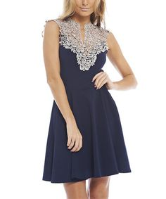 Look at this AX Paris Navy Lace-Yoke Notch Neck Top on #zulily today!