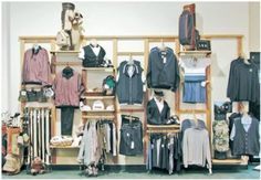 Example 2 Display :: NEWLOCK Wood Display System :: Store Fixtures :: Allen Display Clothing Store Interior, Clothing Store Displays, Clothing Store Design, Fashion Window Display, Fashion Displays, Visual Merchandising Fashion, Retail Store Design, Retail Stores, Store Interiors