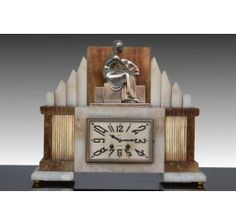 Art deco bronze and marble clock