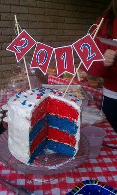 Graduation cake in school colors! Two cakes. One in hs colors, one for college colors Graduation Cake, Graduation Ideas, Grad Parties, Birthday Parties, Cupcake Cakes, Cupcakes, Decorated Cakes, School Colors, Senior Year