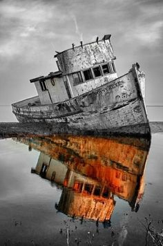 Abandoned ship - splash of color