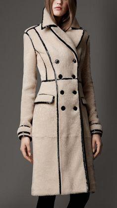 Cream coat with patent leather black trim