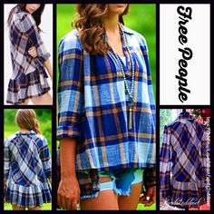 Selling this FREE PEOPLE Plaid Tunic Shirt Swing Button Down in my Poshmark closet! Plaid Tunic, Tunic Shirt, Plaid Flannel, Free People Dress, Free People Tops, Color Stone, Model Photos, Retail Price, Stripe Print