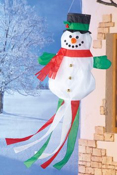 Holiday Decorated Snowman Windsock