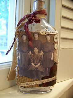 DIY Altered Ancestor Bottle ~ make your family history a part of your home decor.