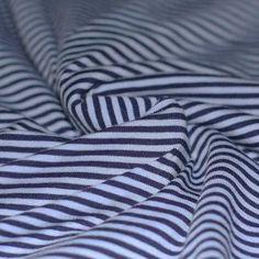 Baumwolljersey Streifen 3mm Blau Marine