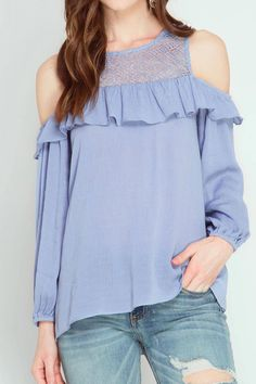 Long Sleeve Cold Shoulder Top With Yoke Lace And Ruffles.   Long Sleeve Top by She + Sky. Clothing - Tops - Long Sleeve Texas