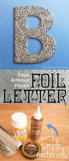 3D antiqued foil letter. So classy, you'd never guess it was made with aluminum foil, shoe polish, and Mod Podge. Super simple to do, too. Step-by-step tutorial. \ whatchaworkinon.com
