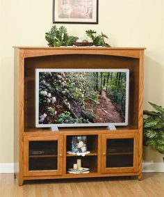 Amish Economy Entertainment Center - Quick Ship A traditional look creates a lovely home theater. Solid wood construction customized in choice of wood and stain. #entertainmentcenter #livingroom