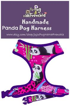 Panda Print Dog harness, Handmade custom dog harness #pugharness #dogharness #Frenchbulldog #Frenchieharness