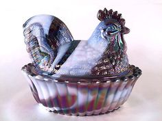 Westmoreland Purple Marble Slag Milk Glass Rooster On Wide Rib Base Covered Dish