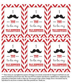 Valentines Day Printables: Mustache