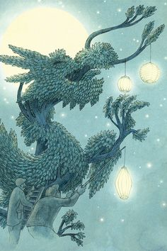 Illustrations from The Night Gardener: Dragon Tree At Night Set-Up by Eric Fan - canvas print