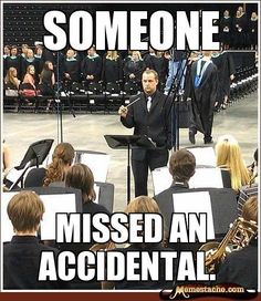 Band Problems//this is usually true. My band teacher will pretend to throw his baton or will just stop the band and glare at the offending section…lol Band Nerd, Band Puns, Marching Band Jokes, Marching Band Problems, Flute Problems, Orchestra Problems, Music Jokes, Music Humor, Funny Music