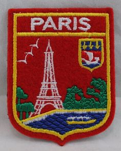 """Paris Red Eiffel Tower Patch 3""""T X 2-1/4""""W #Unbranded Patches For Sale, Selling On Ebay, Pot Holders, Tower, Paris, Red, Rook, Montmartre Paris, Hot Pads"""