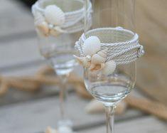 Beach wedding toasting flutes bride and groom por RusticBeachChic