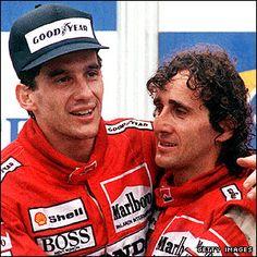 Ayrton Senna (left) with McLaren team-mate Alain Prost