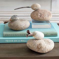 Wisteria - Accessories - Decorative Objects - Creek Rock Ducks - Set of 3 Pebble Painting, Pebble Art, Stone Painting, Stone Crafts, Rock Crafts, Arts And Crafts, Pebble Stone, Stone Art, Rock Sculpture