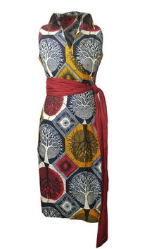 African Print Dress with Sash Belt Front
