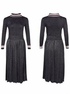 Fashion O-Neck Long Sleeve Two Piece Skater Dress