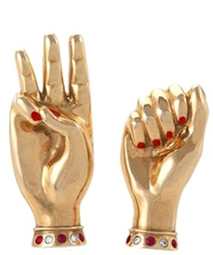 """A pair of #diamond, #ruby and #gold """"Sign Language"""" brooches, circa 1940. Paul…"""