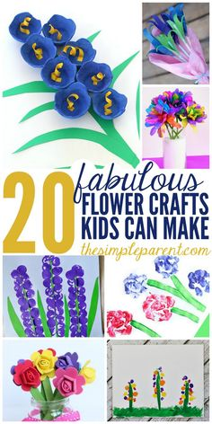 Celebrate Spring or Mother's Day with these fabulous Flower Craft Ideas that kids can make! Flower Crafts Kids, Spring Crafts For Kids, Mothers Day Crafts For Kids, Crafts For Kids To Make, Kids Crafts, Easy Crafts, Diy And Crafts, Easy Diy, Valentines Bricolage