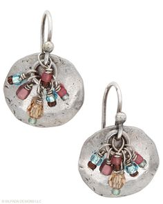 Flashes of Glass Beads light up these oxidized Sterling Silver Earrings.