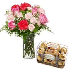 Roses and Carnation Combination with Ferrero Rocher