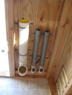 Space efficient / no mess feeder system. For chickens coop These feeders were made out of PVC pipes Chicken Pen, Chicken Coup, Chicken Lady, Keeping Chickens, Raising Chickens, Backyard Farming, Chickens Backyard, Chicken Feeders, Duck House