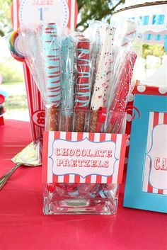 carnival birthday party - This would be a fun food/party favor station too. And the girls could help dip these and decorate ahead of time.