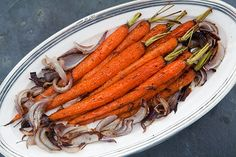 Tender young carrots, roasted with red onions with rosemary, salt, and pepper, until lightly caramelized.