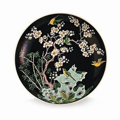 Famille noire dish with the Three Friends of Winter Jingdezhen, China Qing dynasty, Guangxu period (1875–1908)  Porcelain  #earthday #acmsg