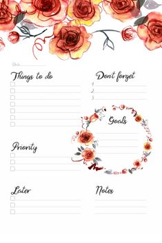 ♥To Do Printable Planner witn Watercolor Roses. To Do Planner, Daily Planner Pages, Weekly Planner Printable, Planner Template, College Planner, Daily Planners, Printable Calendars, College Tips, Bullet Journal Ideas Pages
