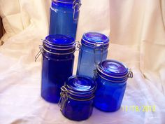 Vintage Colbalt Blue Glass Canisters Set of by ProPicksoftheOzarks, $125.00