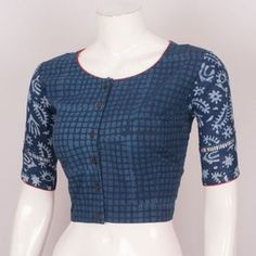 Buy Online Blouses Crop Tops - Hand Block Printed Indigo Cotton Blouse With Regular Sleeve 10026015 - Size 40 - back - AVISHYA.COM