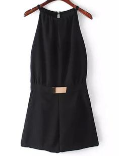 With Zipper Metallic Embellished Cut Out Jumpsuit