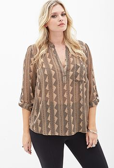 $22.00 - Geo Woven Blouse | FOREVER21 PLUS - 2000085096