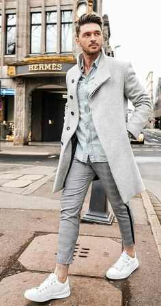 Men Clothing - with a fall combo idea with a gray topcoat light wash denim shirt gray plaid trousers (too short IMHO) no show socks white sneakers Look Fashion, Winter Fashion, Mens Fashion, Fashion Menswear, Suit Fashion, Fashion Spring, Fashion Styles, Mantel Outfit, Mode Man