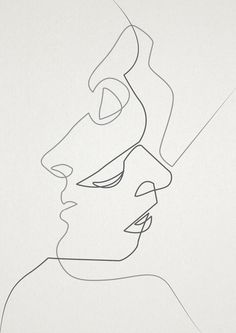 """Close."" Two faces one line drawing print in black and white."