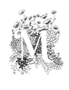 Art print of letter M with floral background. Great gift! Message me for customizations or commissioned pieces. Black and white ink, more letters of the alphabet coming soon.